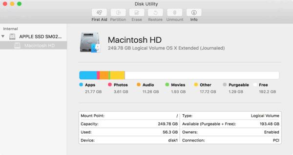 disková utilita mac