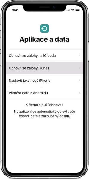 Obrázek telefonu jak se dá přejít na nové iOS zařízení