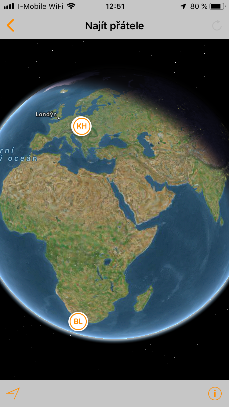 aplikace najít přátelé mapa