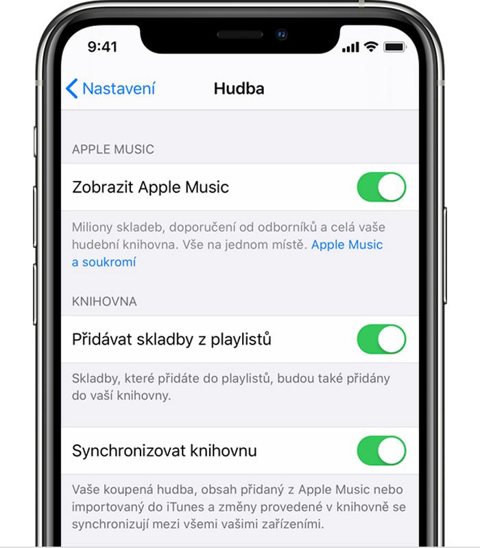 Synchronizovat hudbu iOS 13