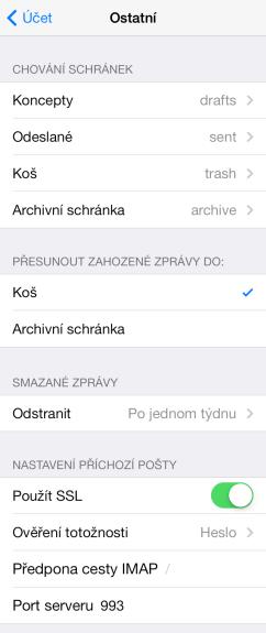 IMAP Seznam mail iPhone