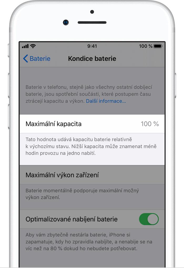 Kondice baterie iOS 13