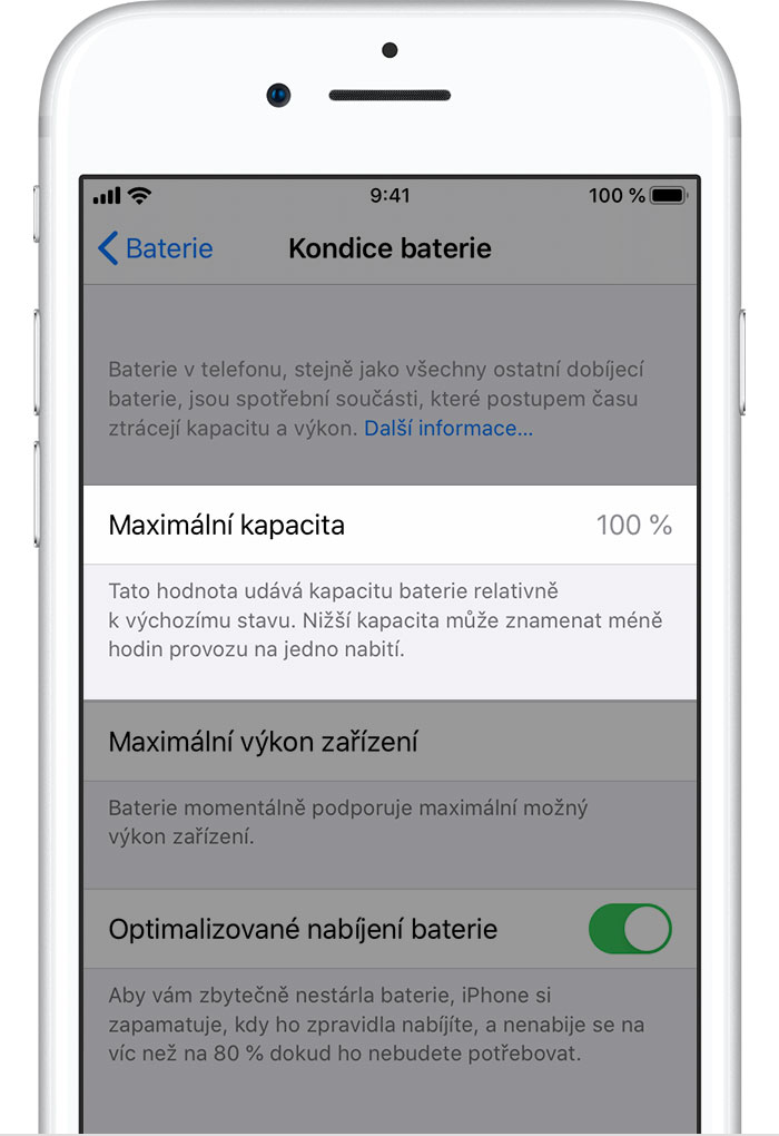 iPhone kapacita baterie