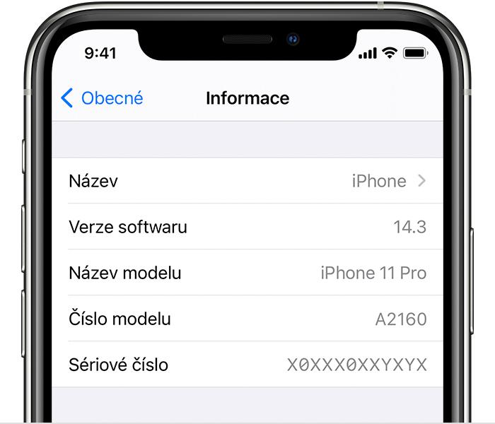 iPhone sériové číslo