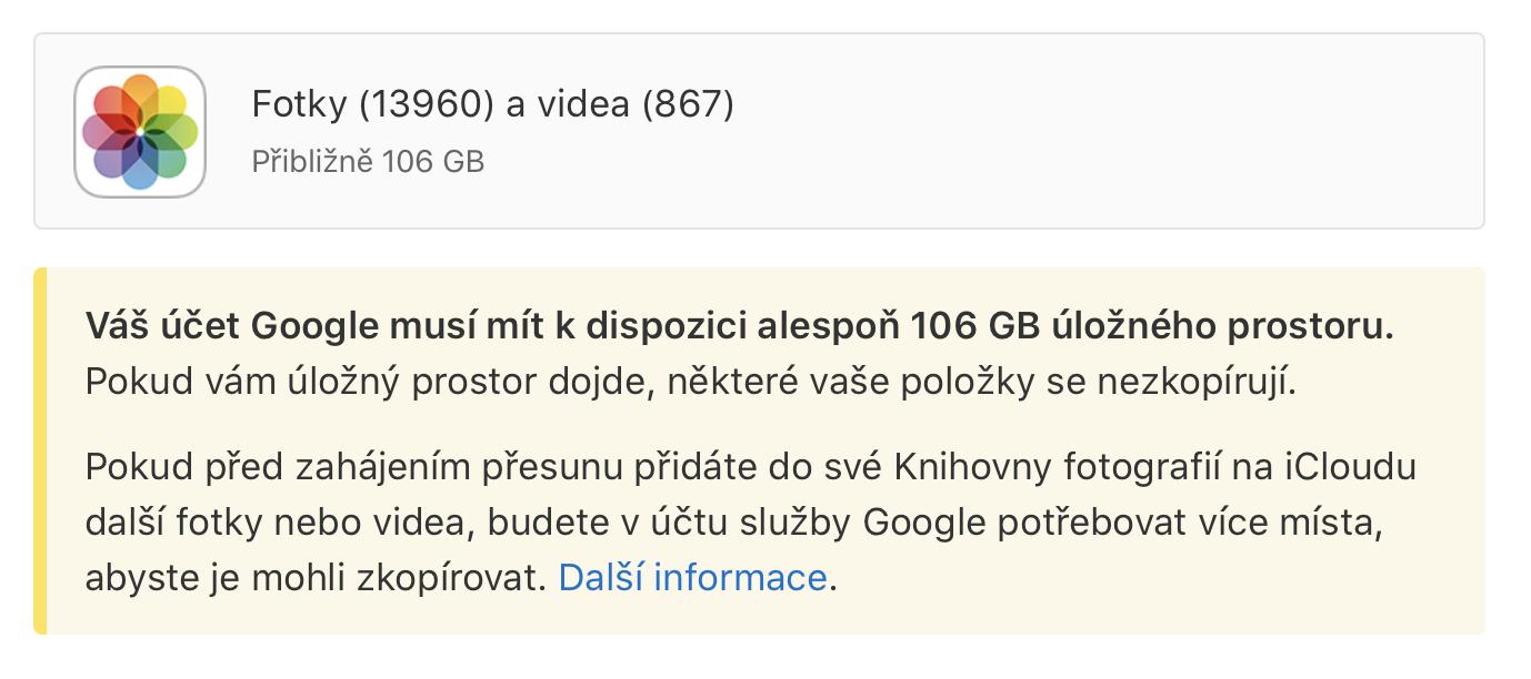 Fotky Google přenos